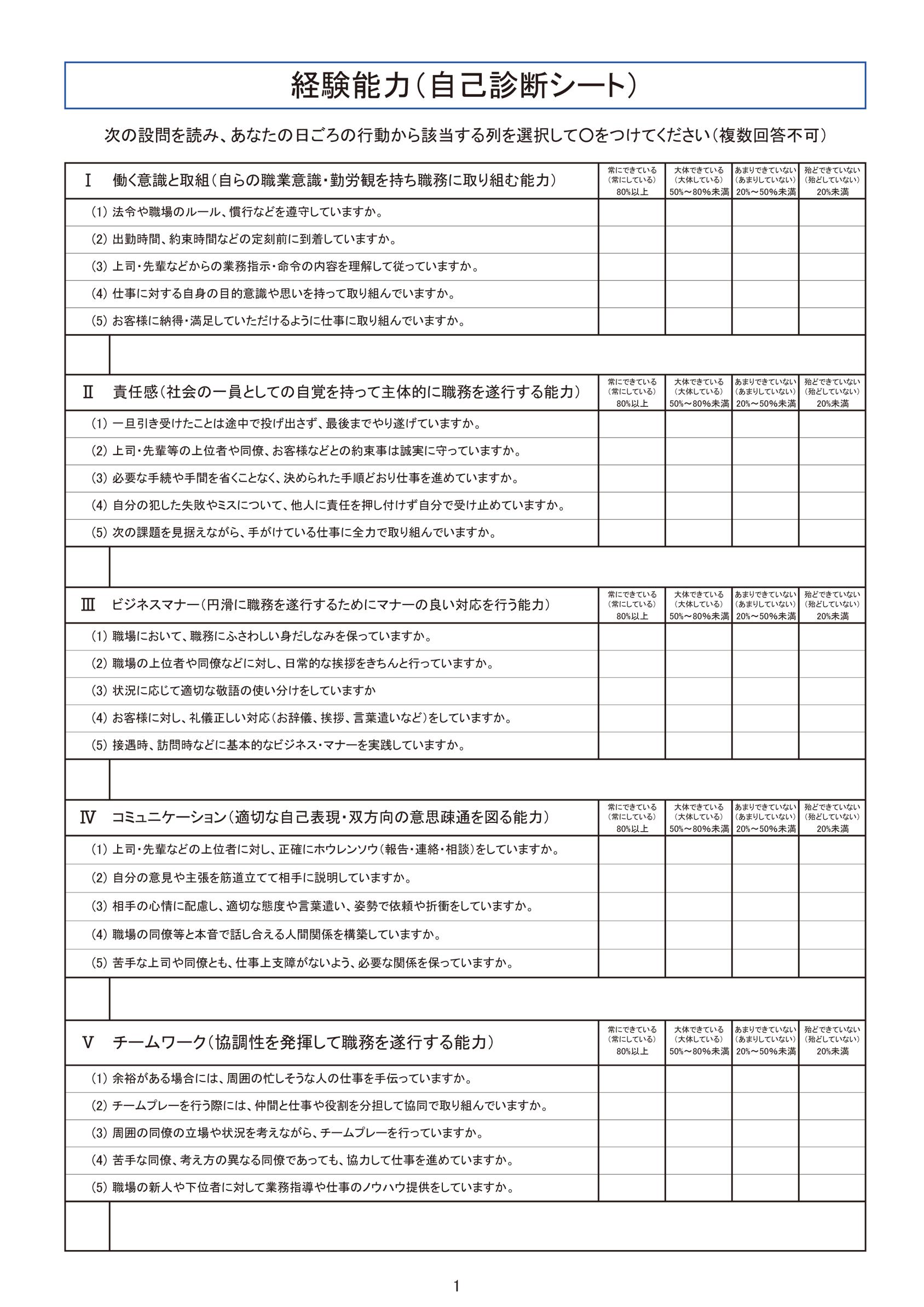 評価基準チェックシート|採用・労務 実務フォーマット集|人事、採用 ...